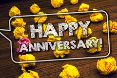 Writing note showing Happy Anniversary Motivational Call. Business photo showcasing Annual Special Milestone Commemoration Timber. Ed ground serially laid yellow stock photography
