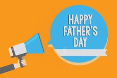 Writing note showing Happy Father s is Day. Business photo showcasing time of year to celebrate fathers all over the world Alarmin. G speaker signal warning vector illustration