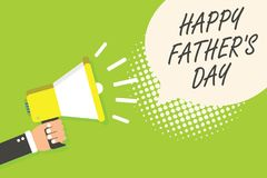 Writing note showing Happy Father s is Day. Business photo showcasing time of year to celebrate fathers all over the world Speaker. Announcement alarming signal vector illustration