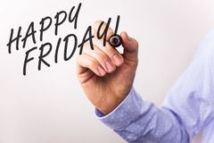 Writing note showing Happy Friday Motivational Call. Business photos showcasing Wishing you have a good start for the weekend. Writing note showing Happy Friday royalty free stock photography