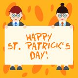 Writing note showing Happy St Patrick S Is Day. Business photo showcasing Ireland celebration green lucky charms and clovers Male. And Female in Uniform Holding vector illustration