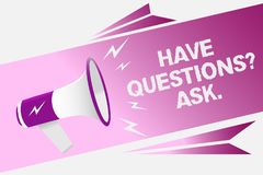 Writing note showing Have Questions question Ask.. Business photo showcasing asking someone respond you with feedback Loud speaker. Convey message ideas Royalty Free Stock Photos