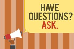 Writing note showing Have Questions question Ask.. Business photo showcasing asking someone respond you with feedback Multiline te. Xt board typing make Royalty Free Stock Photo