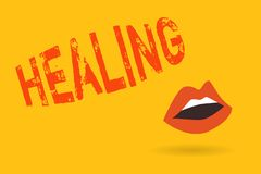 Writing note showing Healing. Business photo showcasing process of making or becoming sound or healthy again Helping
