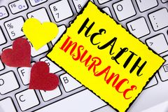 Writing note showing  Health Insurance. Business photo showcasing Health insurance information coverage healthcare provider writte. N Yellow Sticky Note Paper Royalty Free Stock Photos