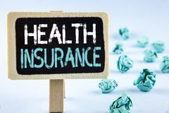Writing note showing  Health Insurance. Business photo showcasing Health insurance information coverage healthcare provider writte. N Wooden Notice Board plain Royalty Free Stock Photography