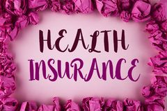 Writing note showing Health Insurance. Business photo showcasing Health insurance information coverage healthcare provider writte. N plain background within Pink stock images
