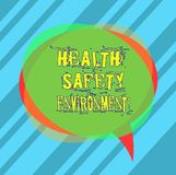 Writing note showing Health Safety Environment. Business photo showcasing Environmental protection and safety at work Blank Speech. Bubble photo and Stack of stock photo