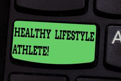 Writing note showing Healthy Lifestyle Athlete. Business photo showcasing Good nutrition and a healthy food consumption. Keyboard key Intention to create royalty free illustration