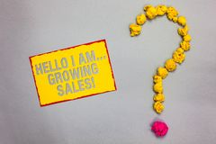 Writing note showing Hello I Am... Growing Sales. Business photo showcasing Making more money Selling larger quantities Red border. Ed yellow sticky note yellow stock photos