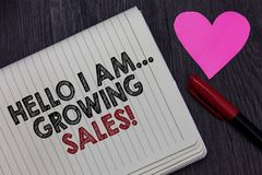 Writing note showing Hello I Am... Growing Sales. Business photo showcasing Making more money Selling larger quantities Strikethro. Ugh words on notepad love stock images