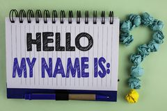 Writing note showing  Hello My Name Is. Business photo showcasing meeting someone new Introduction Interview Presentation written. Notebook the plain background Royalty Free Stock Images