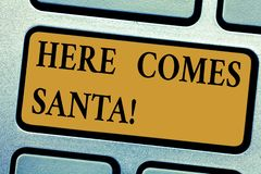 Writing note showing Here Comes Santa. Business photo showcasing Christmas song written and performed by Gene Autry. Keyboard key Intention to create computer vector illustration