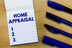 Writing note showing Home Appraisal. Business photo showcasing Determines the real worth and the Evaluation of property.  stock image