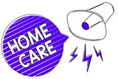 Writing note showing Home Care. Business photo showcasing Place where people can get the best service of comfort rendered Megaphon stock illustration
