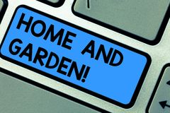 Writing note showing Home And Garden. Business photo showcasing Gardening and house activities hobbies agriculture Keyboard key. Intention to create computer stock photo