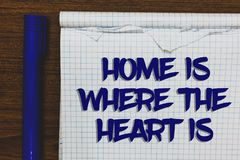 Writing note showing Home Is When The Heart Is. Business photo showcasing Your house is where you feel comfortable and happy Writt. En white notepad on grey royalty free stock photography