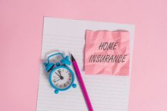 Writing note showing Home Insurance. Business photo showcasing Covers looses and damages and on accidents in the house. Writing note showing Home Insurance royalty free stock photography