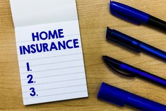 Writing note showing Home Insurance. Business photo showcasing Covers looses and damages and on accidents in the house.  stock photo