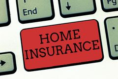 Writing note showing Home Insurance. Business photo showcasing Covers looses and damages and on accidents in the house.  stock photography