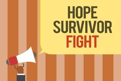 Writing note showing Hope Survivor Fight. Business photo showcasing stand against your illness be fighter stick to dreams Multilin. E text board typing make Royalty Free Stock Photo