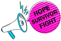 Writing note showing Hope Survivor Fight. Business photo showcasing stand against your illness be fighter stick to dreams Sound sp. Eaker make announcement Royalty Free Stock Photography