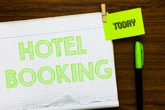Writing note showing Hotel Booking. Business photo showcasing Online Reservations Presidential Suite De Luxe Hospitality. Open notebook page markers holding royalty free stock photo