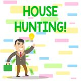 Writing note showing House Hunting. Business photo showcasing the act of searching or looking for a house to buy or rent. Writing note showing House Hunting vector illustration