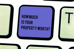 Writing note showing How Much Is Your Property Worthquestion. Business photo showcasing Establish the price of. Properties Keyboard key Intention to create royalty free stock photo