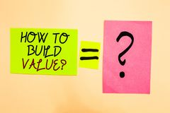 Writing note showing How To Build Value question. Business photo showcasing Ways for developing growing building a business Writte. N on green sticky note on royalty free stock photos