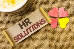 Writing note showing  Hr Solutions. Business photo showcasing Recruitment Solution Consulting Management Solving Onboarding writte. N sticky Note the jute Stock Photography