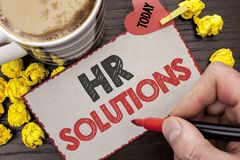 Writing note showing  Hr Solutions. Business photo showcasing Recruitment Solution Consulting Management Solving Onboarding writte. N Man Holding Marker Royalty Free Stock Photography