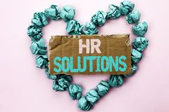 Writing note showing  Hr Solutions. Business photo showcasing Recruitment Solution Consulting Management Solving Onboarding writte. N Tear Cardboard Plain Stock Photography