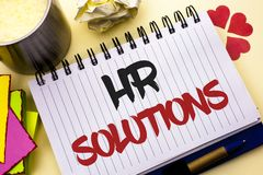 Writing note showing  Hr Solutions. Business photo showcasing Recruitment Solution Consulting Management Solving Onboarding writte. N Notebook Book the plain Royalty Free Stock Photography