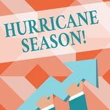 Writing note showing Hurricane Season. Business photo showcasing time when most tropical cyclones are expected to royalty free illustration