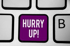 Writing note showing Hurry Up. Business photo showcasing To move,proceed,or act,with haste at the best of your speed Keyboard purp. Le key Intention computer royalty free stock photo
