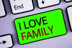 Writing note showing I Love Family. Business photos showcasing Good feelings Affection Carefulness for your mother father. Writing note showing I Love Family royalty free stock image