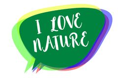 Writing note showing I Love Nature. Business photo showcasing Enjoy the natural environment Preservation Protect ecosystem Speech. Bubble idea message reminder vector illustration