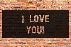 Writing note showing I Love You. Business photo showcasing Expressing roanalysistic feelings for someone Positive emotion Brick. Wall art like Graffiti stock image