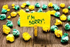 Writing note showing I am Sorry. Business photo showcasing To ask for forgiveness to someone you unintensionaly hurt Clothespin ho. Lding yellow note paper stock image