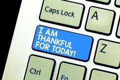 Writing note showing I Am Thankful For Today. Business photo showcasing Grateful about living one more day Philosophy. Keyboard Intention to create computer royalty free stock images
