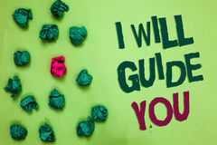 Writing note showing I Will Guide You. Business photo showcasing Help showing a route Influence to do or think something. Olive color floor scattered some green royalty free stock images