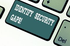 Writing note showing Identify Security Gaps. Business photo showcasing determine whether the controls in place are. Enough Keyboard key Intention to create stock photo
