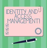 Writing note showing Identity And Access Management. Business photo showcasing Security data analysisaging Business. Protection Square Color Board with Magnet stock illustration