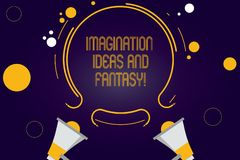 Writing note showing Imagination Ideas And Fantasy. Business photo showcasing Creativity inspirational creative thinking Two royalty free illustration