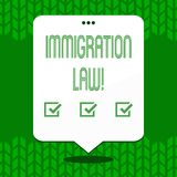 Writing note showing Immigration Law. Business photo showcasing National Regulations for immigrants Deportation rules. Writing note showing Immigration Law stock illustration
