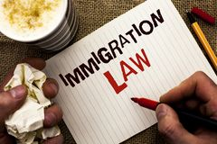 Writing note showing Immigration Law. Business photo showcasing National Regulations for immigrants Deportation rules written by. Man Holding Marker Notebook royalty free stock image