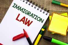 Writing note showing Immigration Law. Business photo showcasing National Regulations for immigrants Deportation rules written on. Writing note showing royalty free stock photos