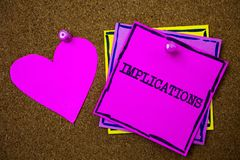 Writing note showing Implications. Business photo showcasing Conclusion State of being involved Suggestion Insinuation Hint Paper. S pink heart cork background royalty free stock photos