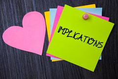 Writing note showing Implications. Business photo showcasing Conclusion State of being involved Suggestion Insinuation Hint Paper. S heart wood wooden background stock photos